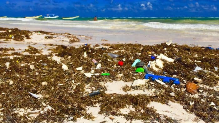 Ocean vomits trash onto Tulum's beaches