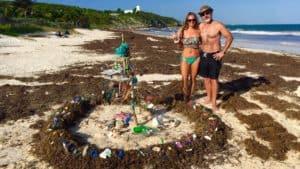 Installation features plastic, sargassum in Tulum
