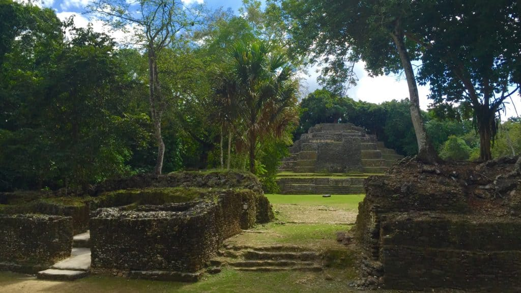 beautiful mayan ruins in belize as seen from the jungle
