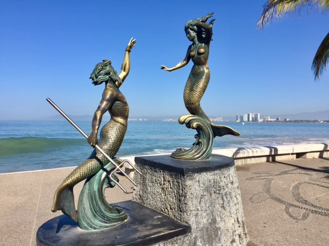 statues in Puerto Vallarta near the sea - how Mexico changed me for the better