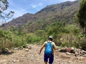 Dirt road behind Tzununa that leads to the Tzununa waterfall at Lake Atitlan