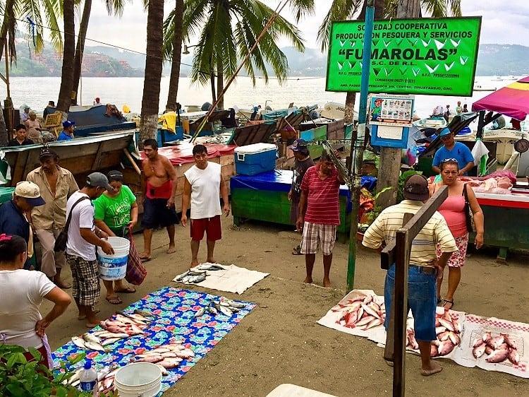 zihuatanenjo fish market on malecon