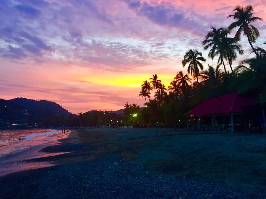 Zihuatanejo purple and pink sunset