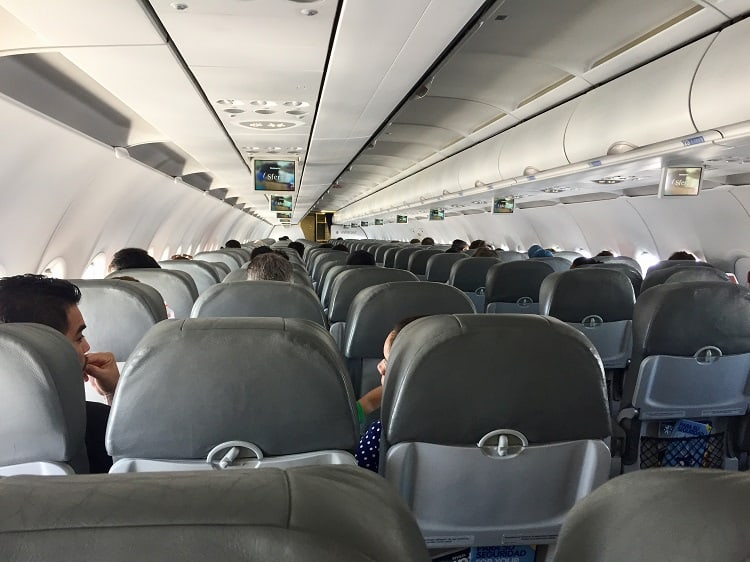 inside view of the plane's seating area on Interjet, one of the Mexican airlines