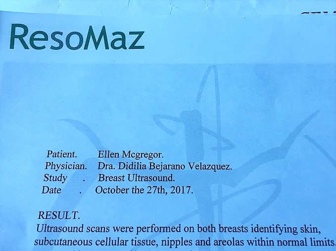 the report from the sonogram I had after a gynecologist checkup in mazatlan