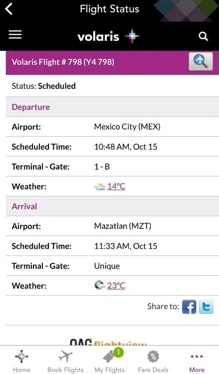 a screen shot of the good app by volaris, one of the mexican airlines