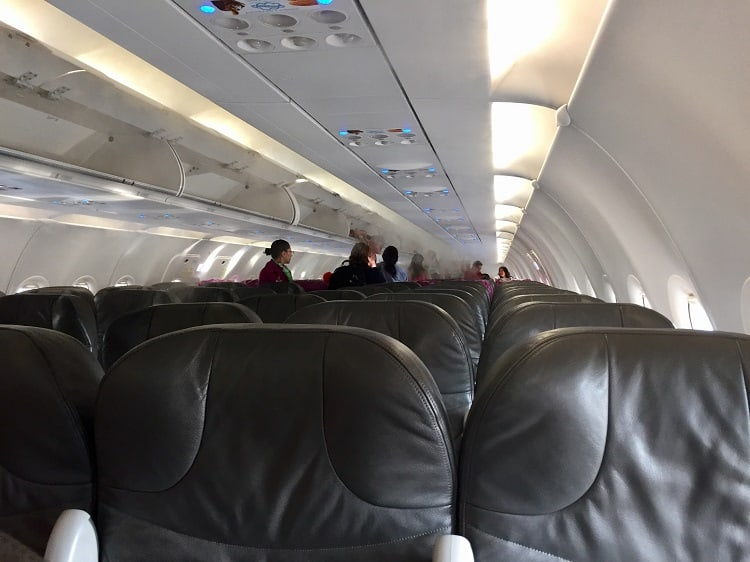 inside shot of a volaris plane, one of the mexican airlines
