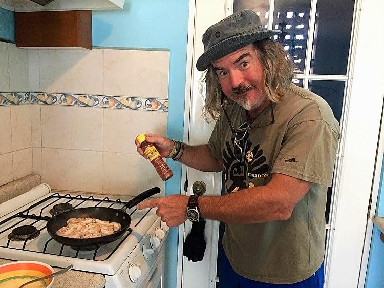 man cooks shrimp from the shrimp ladies in mazatlan