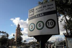 Public bus ride into a Marrakesh neighborhood