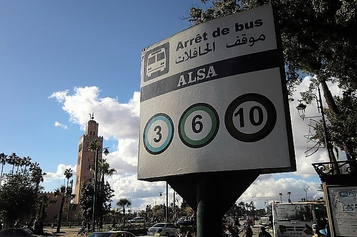 bus signs for routes in marrakesh