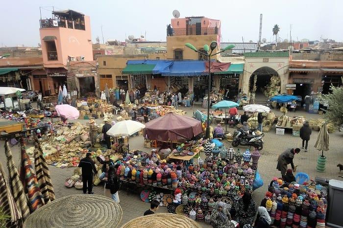 Cultural crossroad in Marrakesh, Morocco