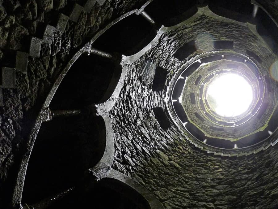 sintra palaces - the view from the bottom of the intiation well at regaleira palace