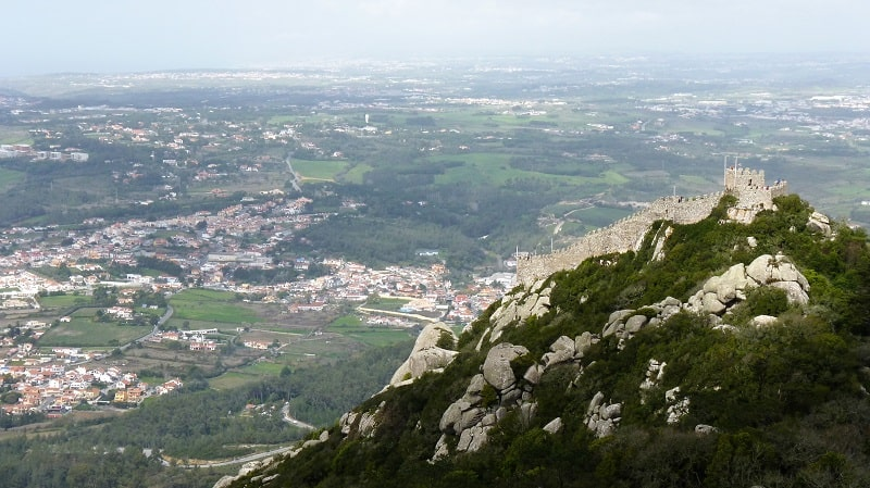 stunning view from the top of the moorish castle grounds in sintra
