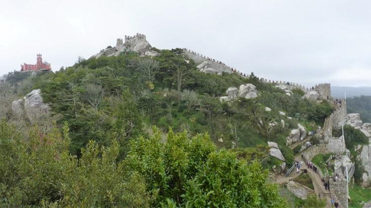 moorish castle as seen from the distance in sintra