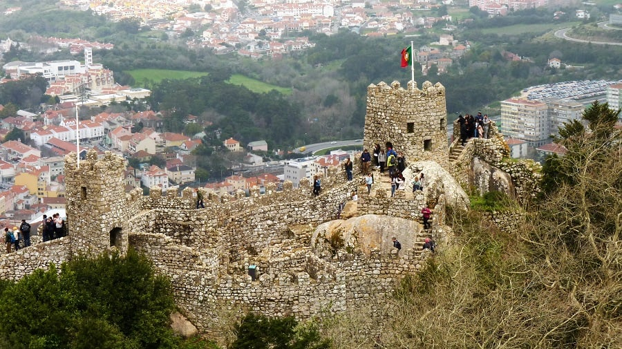 sintra palaces - moorish castle from a distance