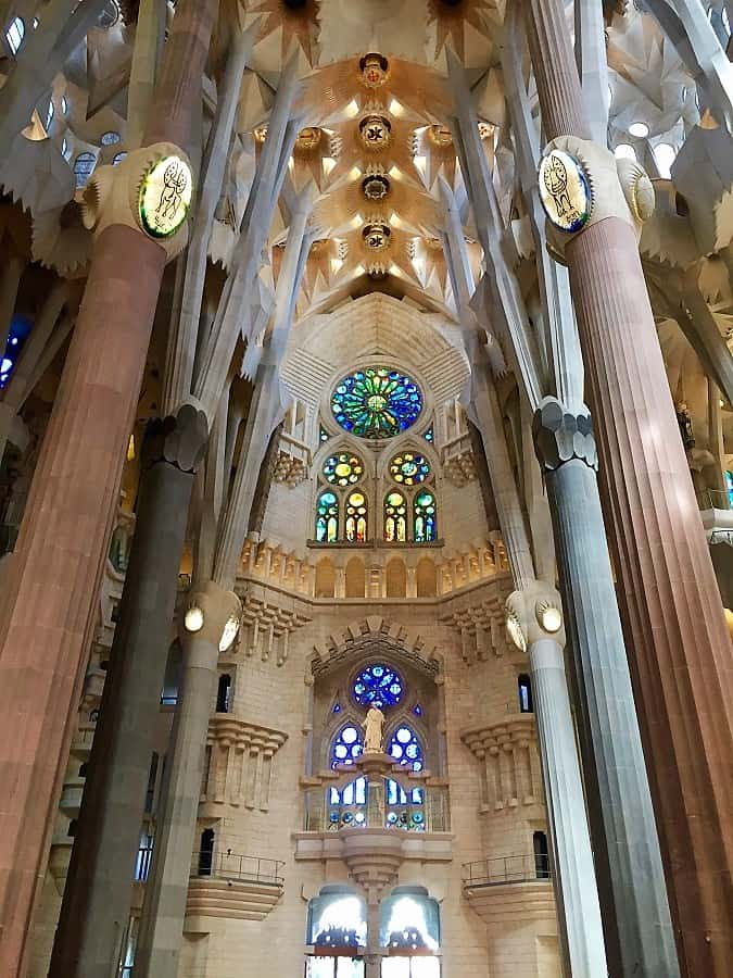 gorgeous interior view of the church in barcelona called la sagrada familia -- one of the activity ideas for barcelona