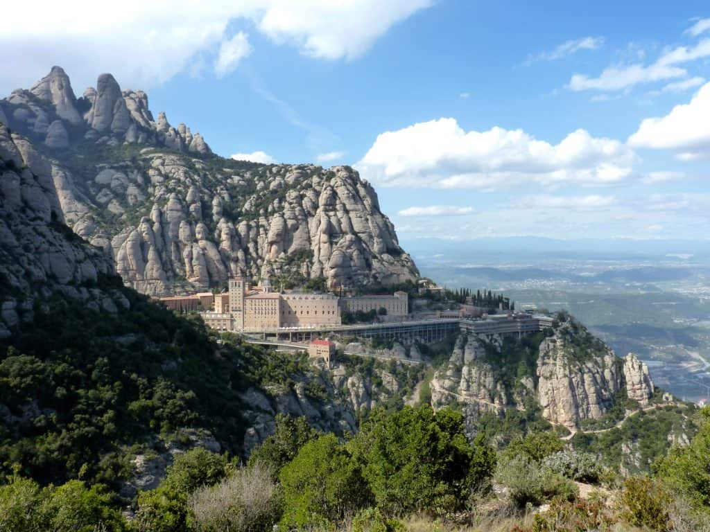 one of the activity ideas for barcelona is a day trip to montserrat, a monestary and park pictured from afar here