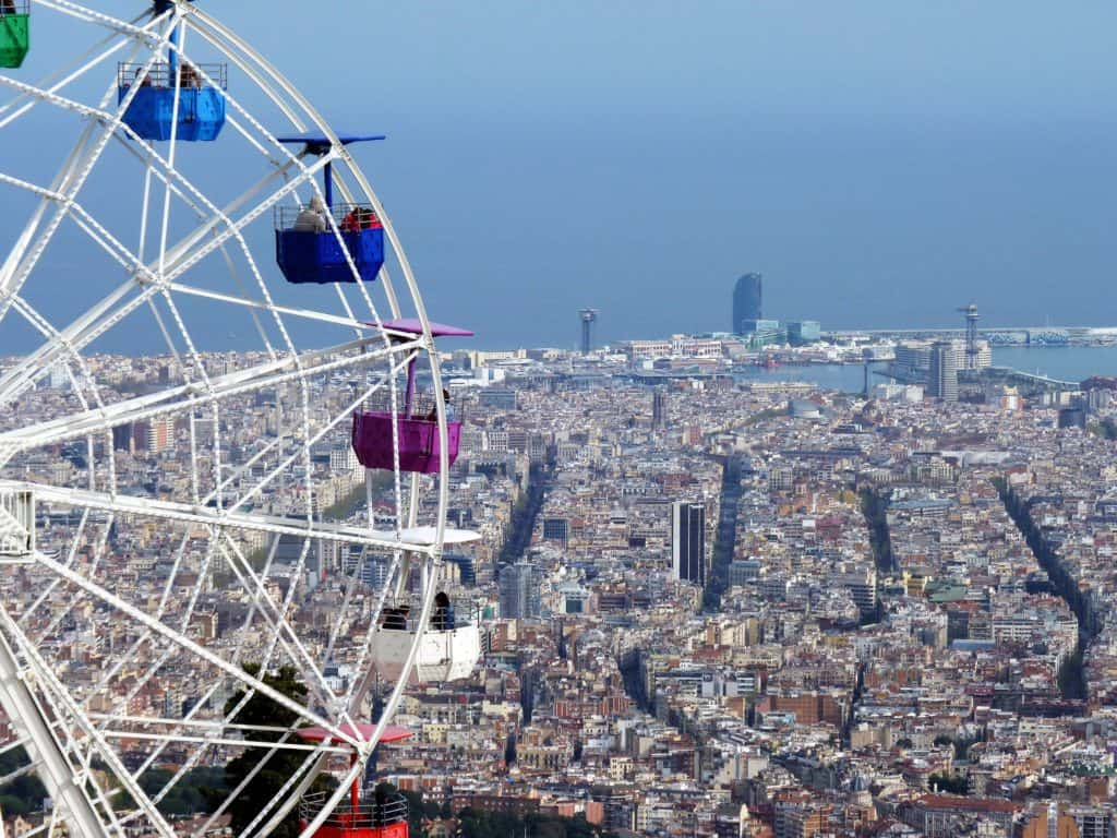tibidabo ferris wheel with a view of the sea - as an activity idea for barcelona