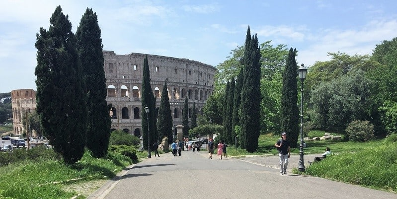 the colosseum viewed from the road to domus aurea in rome