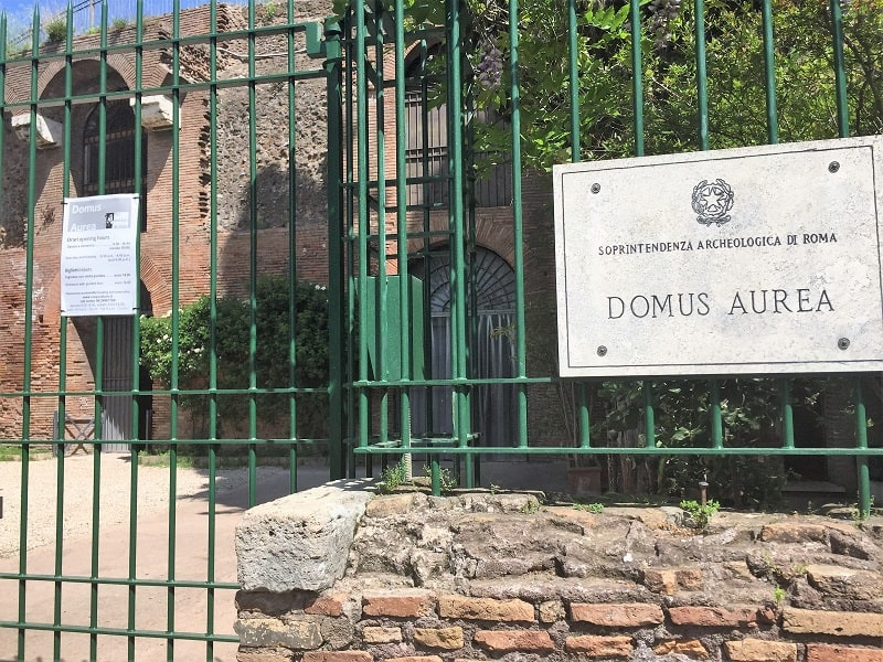 the closed gate at the front entrance for visitors to domus aurea in rome