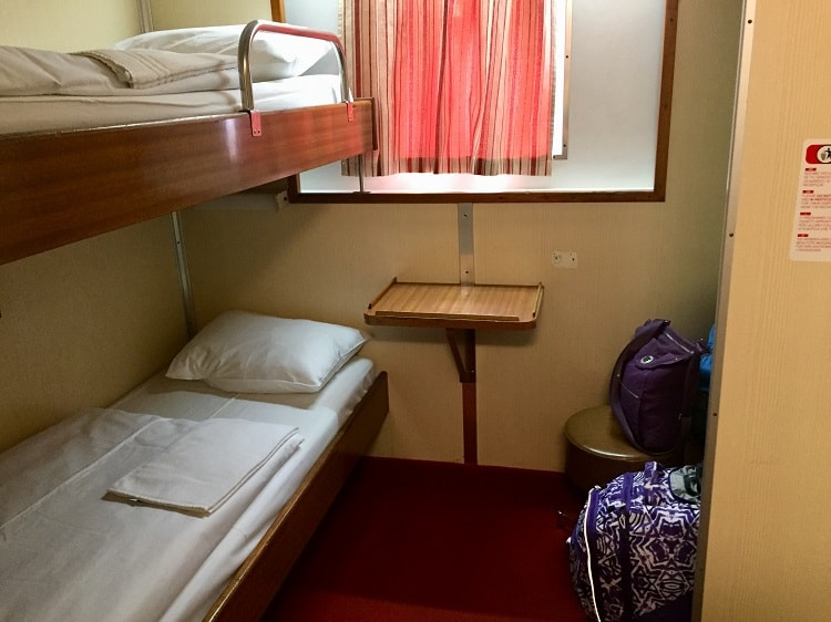 a look at the bunk beds in our cabin on the ferry from italy to croatia