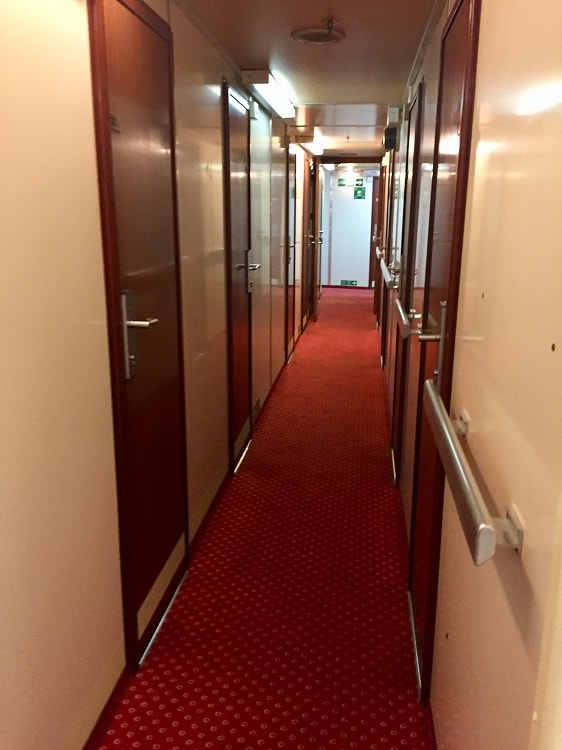 a hallwya in the cabin area of the ferry from italy to croatia