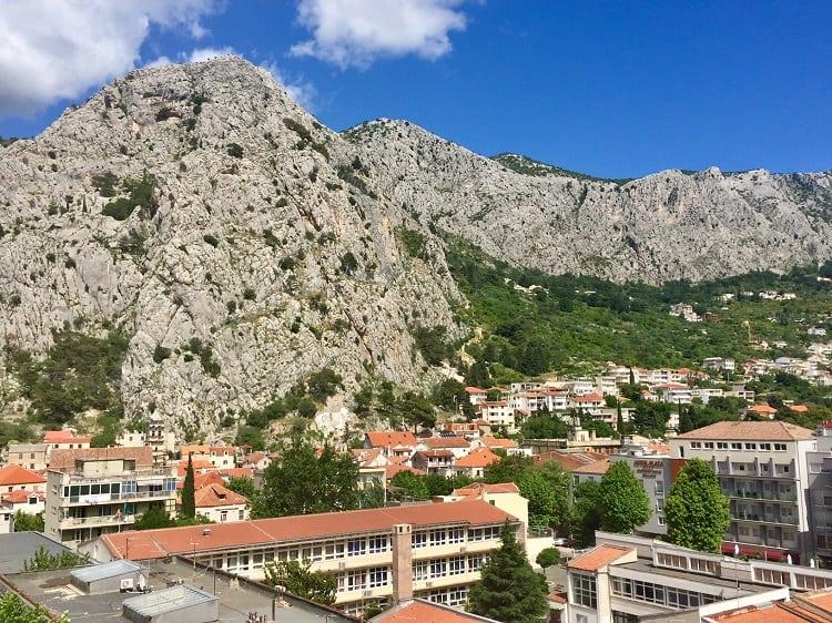 view of the mountains from our omis croatia airbnb rental