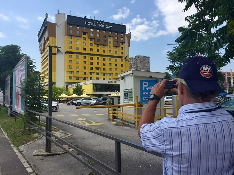 the former hotel hilton where journalists reported on the war is a stop on one of the free walking tours in sarajevo