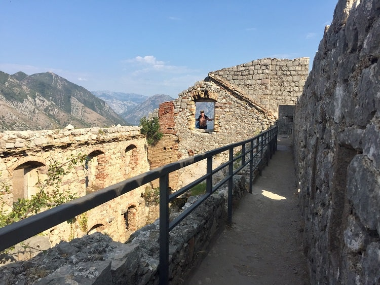 fort ruins at the old fort have railings on the edges so you don't fall over while looking at  amazing views from kotor castle ruins