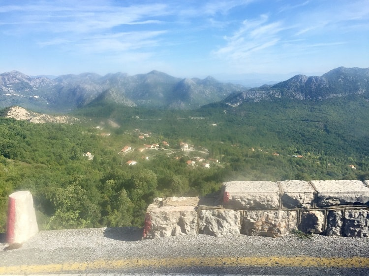 the guardrails are low rocks in many areas on the bus from montenegro to albania