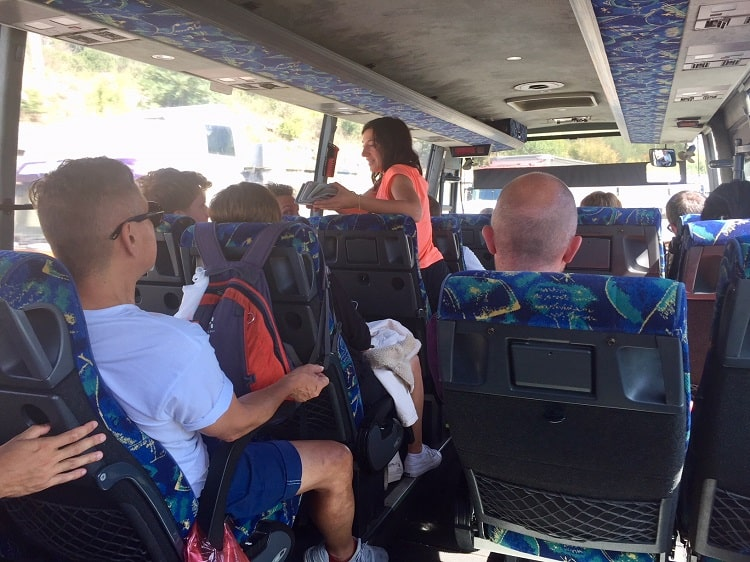 crowded bus from montenegro to albania
