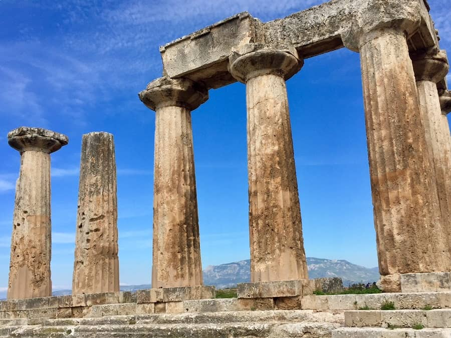 Impressive Greek ruins at Corinth with an early Christian message