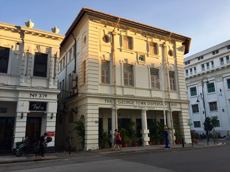 a colonial building facade in george town malaysia
