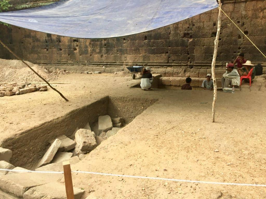 an active excavation dig at angkor wat