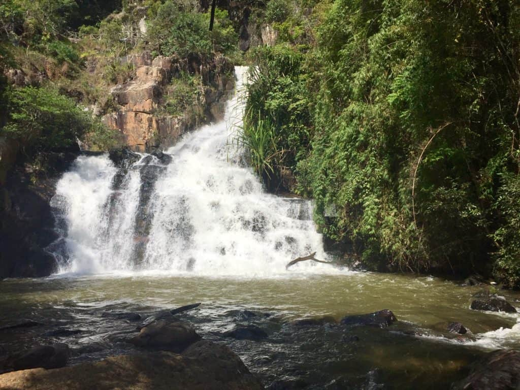 the raging white water of the dalat waterfall