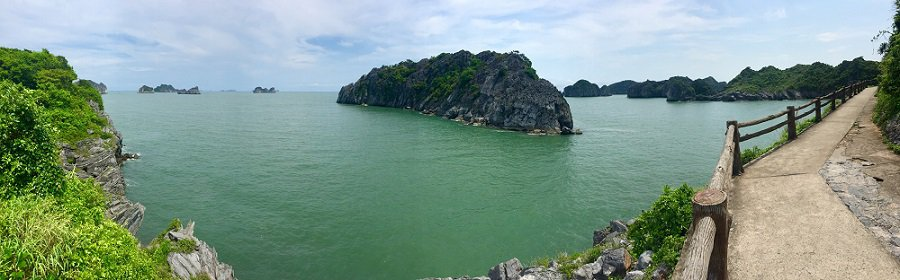 Beautiful panorama shot from walkway that connects two beaches on Cat Ba Island in Vietnam.