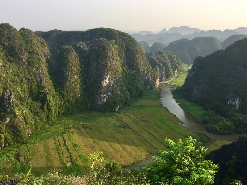 ninh binh mua cave viewpoint overlooking karst mountains and valley and stream