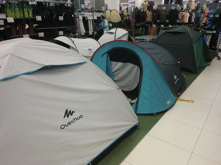 tents inside a decathlon store in malaysia