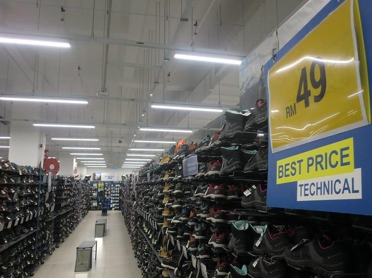 a shoe aisle inside a decathlon store in kuala lumpur