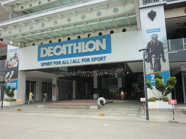 the exterior of a decathlon store in kuala lumpur, malaysia