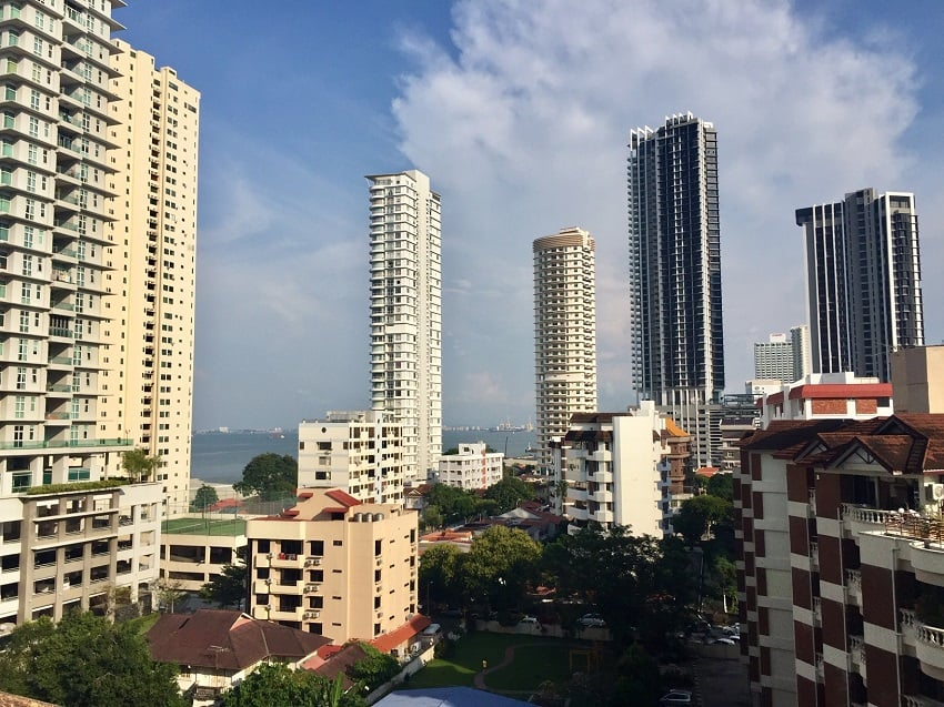 High-rise buildings near the water front in George Town, Malaysia.