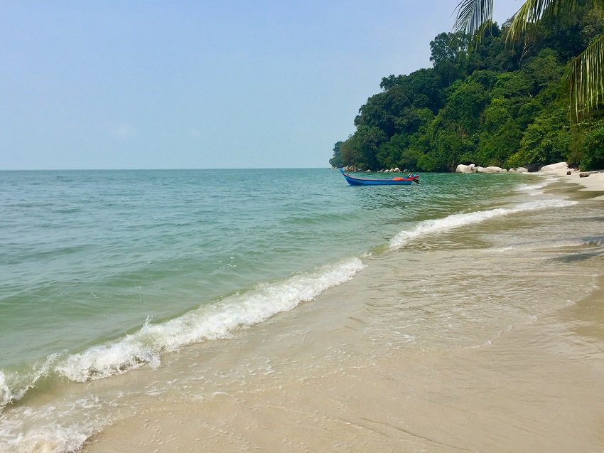 The jungle meets gentle bay waves on Monkey Beach on Penang Island with one boat in the water.