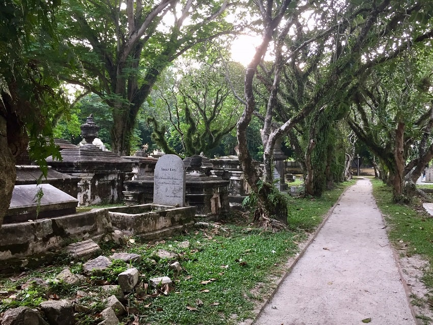 The Protestant Cemetery in George Town, Malaysia, with graves dating back several centuries.