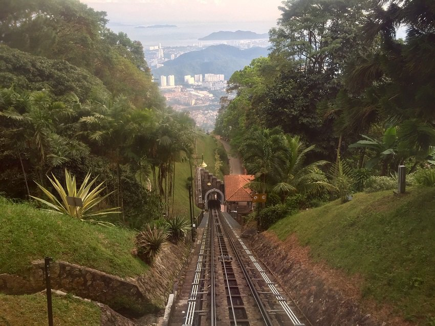 The rail track view from looking down Penang Hill with George Town in the distance.