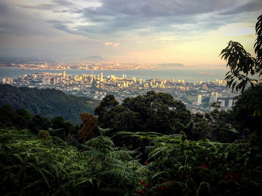 Stunning view of George Town from the top of Penang Hill at sunset