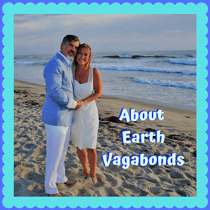 "Newlyweds on San Diego's beach with words ""About Earth Vagabonds"""