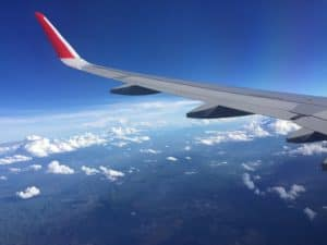 AirAsia plane wing in the sky over somewhere in Thailand.