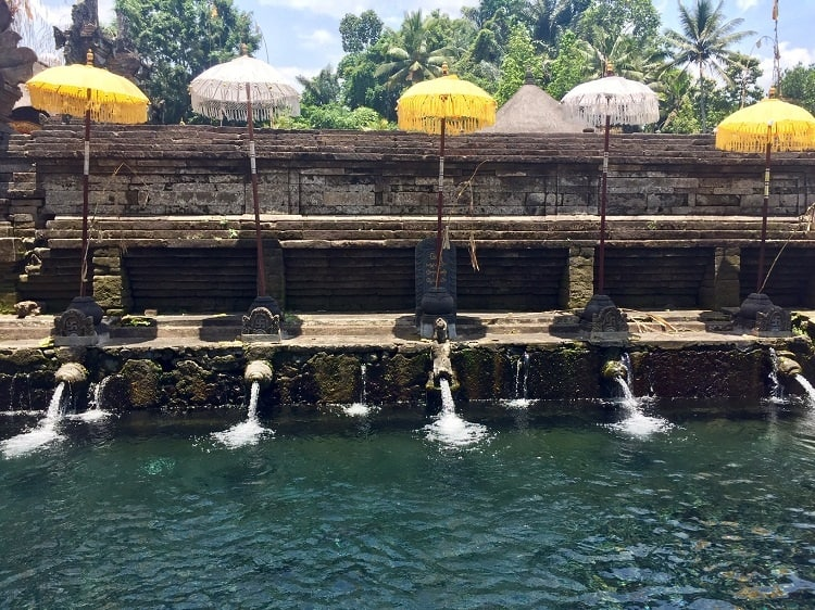 holy water from a spring fills a pool at tirta empul temple - one of the sites near ubud on bali island.