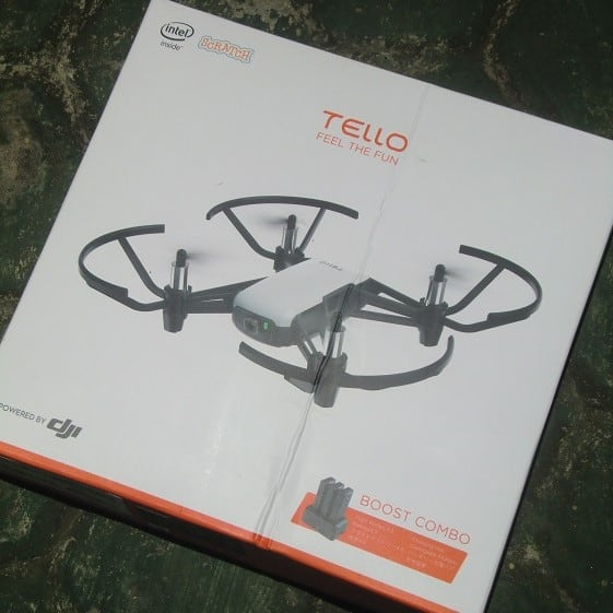 cheap drone with camera for budget travel- the tello box is pictured