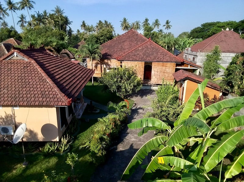 picture of houses in bali from a cheap drone with camera about 25 or 30 feet in the air